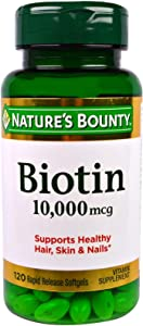 Nature's Bounty Biotin 10,000 Mcg, Supports Healthy Hair, Skin and Nails, Rapid Release Softgels, 3 Pack, (360 Total)