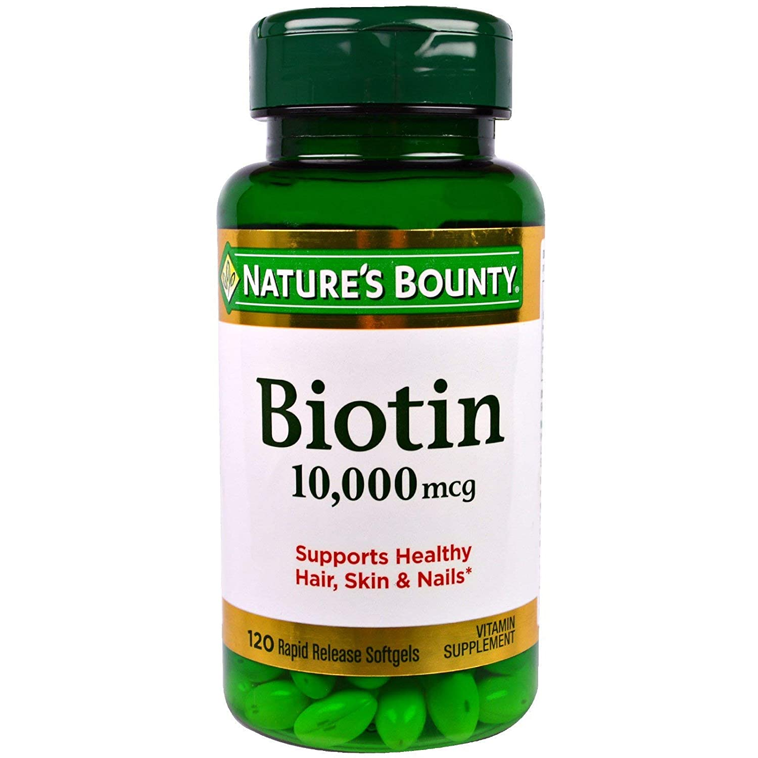 Nature s Bounty Biotin 10, 000 Mcg, Rapid Release Softgels 120 Ea Pack of 3