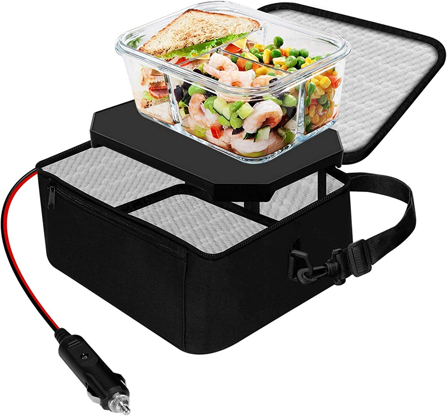 TrianglePatt Portable Oven,12V Food Warmer for Car Portable Mini Microwave for heated Meals,Upgrade Personal Lunch Warmer Box with Bag for Travel, Camping,Outdoor Job, and Potlucks