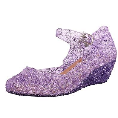 43e64a9e92d Tyidalin Chaussures de princesse Sandale Fille Ballerines à talon pour  Enfant Déguisement - Violet - Taille