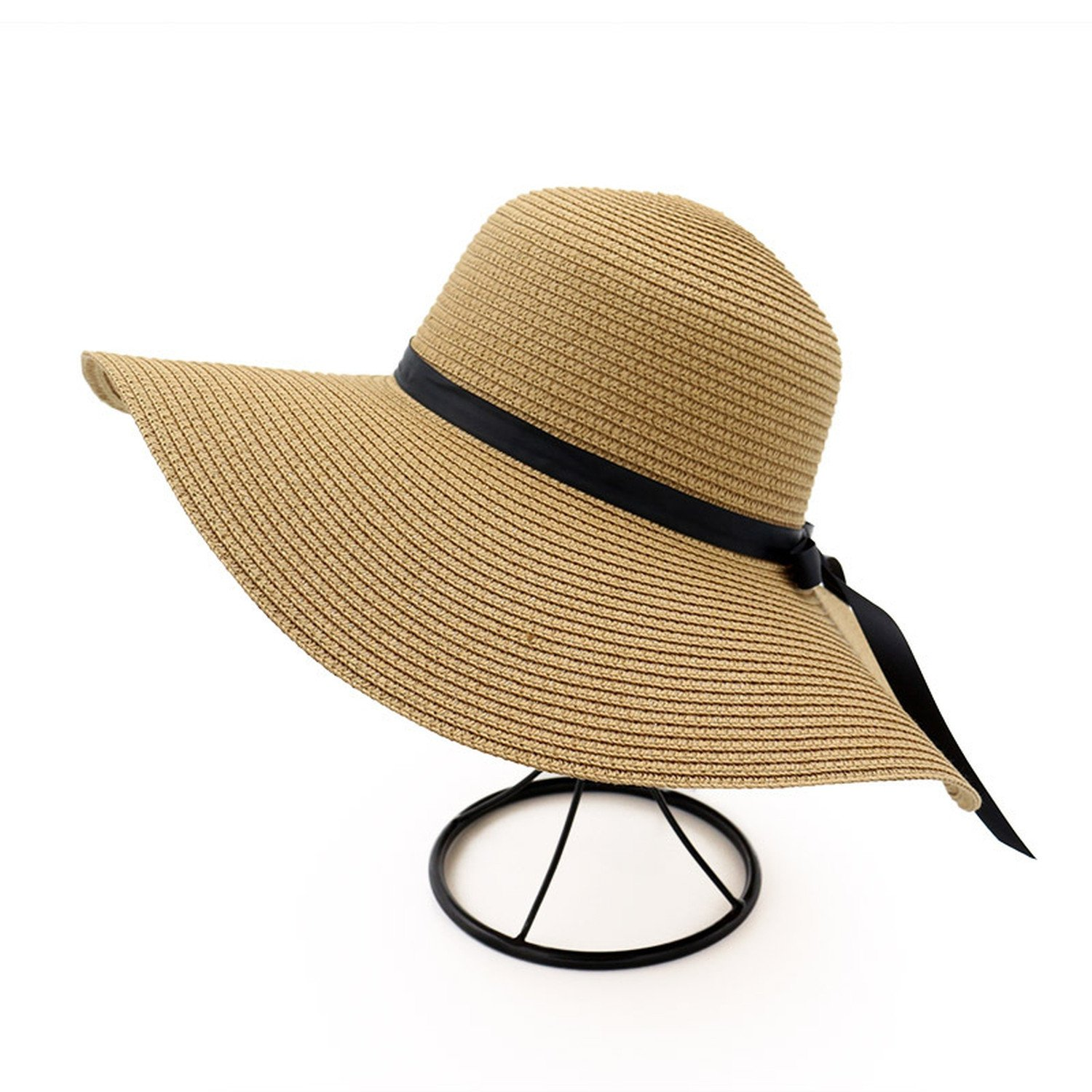 Spring and summer new hat female straw hat seaside holiday beach sun hat big hat bow bow sun hat,Khaki,adjustable by Spring Moon party-hats (Image #4)