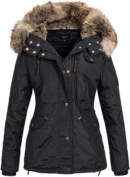 Seventyseven Lifestyle Damen Winter Jacke Kapuze 2 Pockets