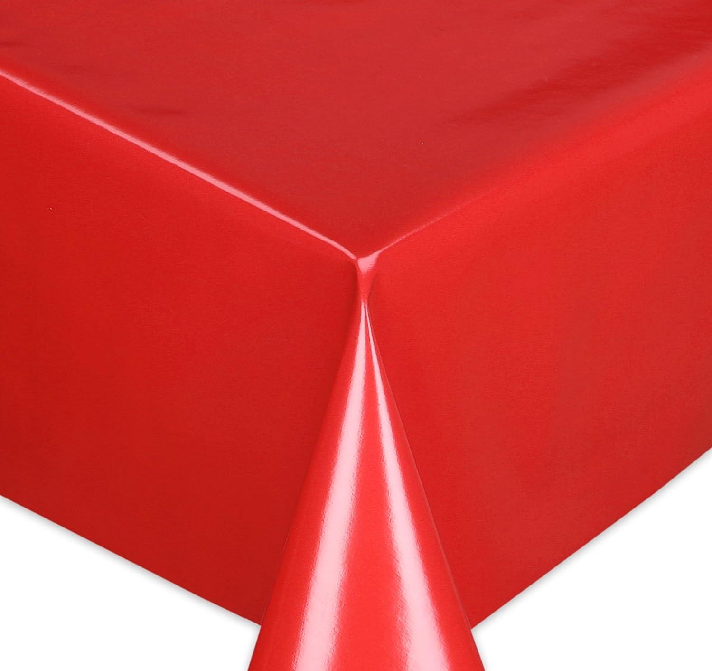 Wachstuchtischdecke Tischdecke Wachstuch abwischbar, Glatte Oberfläche Uni Motiv Rot, Farbe + Größe wählbar 1000x140 cm