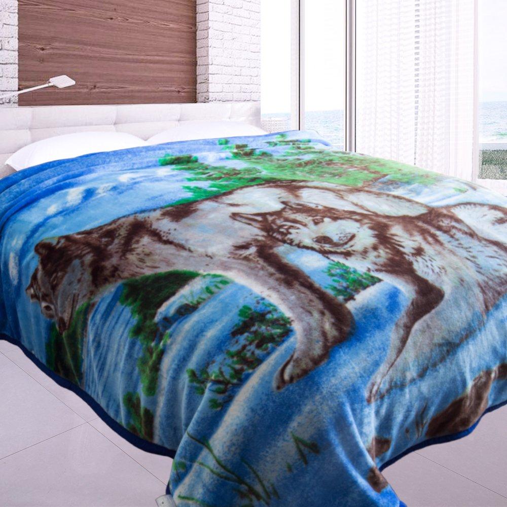 Jml Heavy Duty Korean Mink Blanket - 4.9 lb Soft Warm Plush Fleece Bed Blanket for Winter, 85x93 inch(King, Blue&Wolf) by Jml (Image #1)