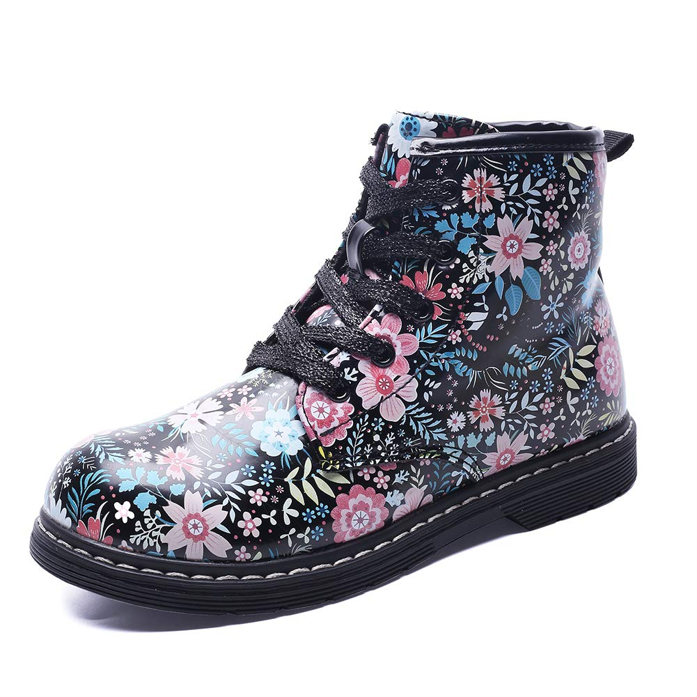 Gungun Kid's Floral Side Zipper Ankle Boots, Waterproof Hiking Rain Shoes, Black, 9.5 M US Toddler