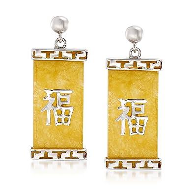 Amazon Ross Simons Yellow Jade Happy Chinese Symbol Drop