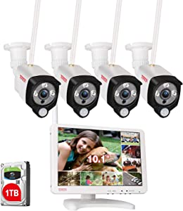 "[Audio Recording] Tonton All-in-One Full HD 1080P Security Camera System Wireless with 10.1"" IPS Monitor,8CH WiFi NVR,1TB HDD and 4PCS 2.0 MP Outdoor Bullet IP Cameras with PIR Sensor,Plug and Play"