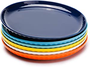 Sweese 156.002 Porcelain Fluted Dinner Plates - 10 Inch - Set of 6, Hot Assorted Colors