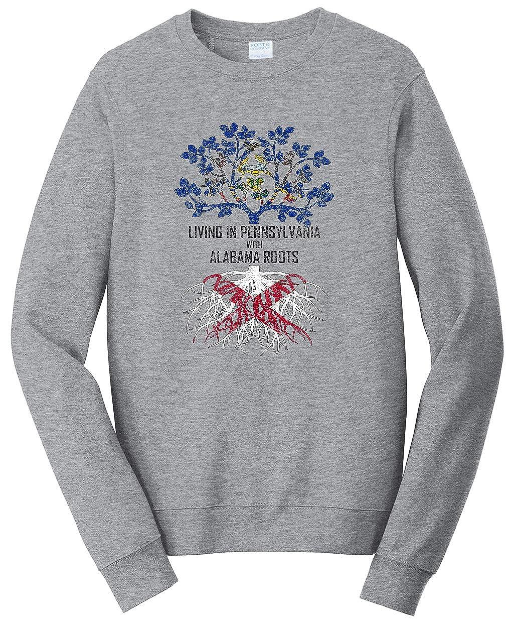 Tenacitee Unisex Living in Pennsylvania Alabama Roots Sweatshirt