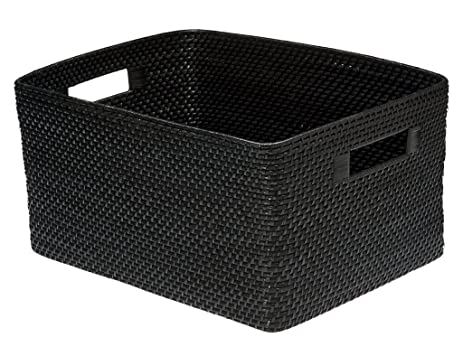 KOUBOO Rectangular Rattan Storage Basket, Black