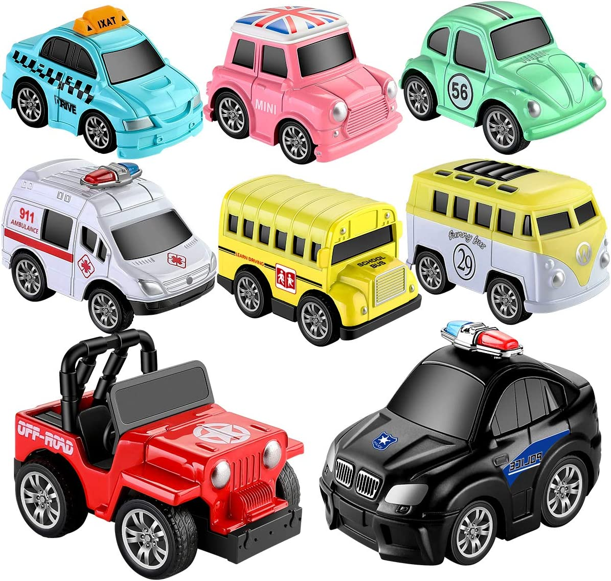 Geyiie Toys Pull Back Vehicles, Car Toy Play Set, 8 Packs, Friction Powered Die-cast Cars Trucks Playset for Boys Girls Toddler Kids Indoor Outdoor Gifts Party Favors