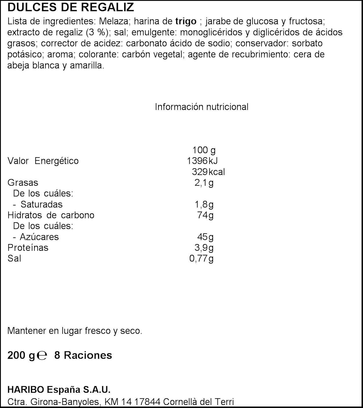 Haribo Mega Torcidas Regaliz Dulces de Regaliz - 200 gr