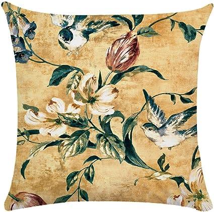 Imagen deCaogsh - 2 fundas de almohada de felpa corta para cojín lumbar, sofá, almohada, almohada retro con diseño de pájaros y flores, algodón mixto, Zt002744, 50x50cm(Single side printing)