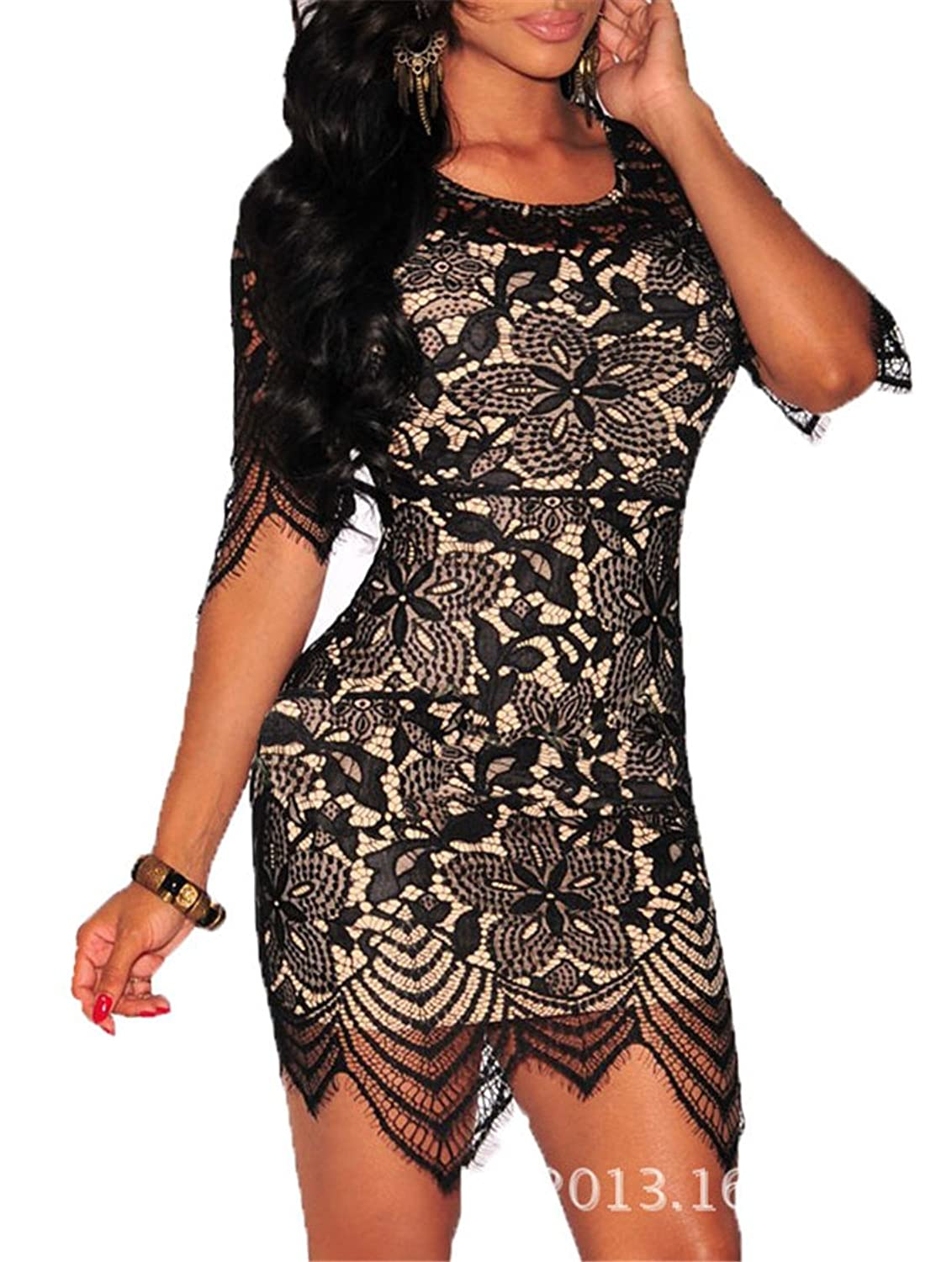 Women's Sexy Half-Sleeve Lace Crew Neck Cut Out Bandage Bodycon Party Mini Dress Clubwear