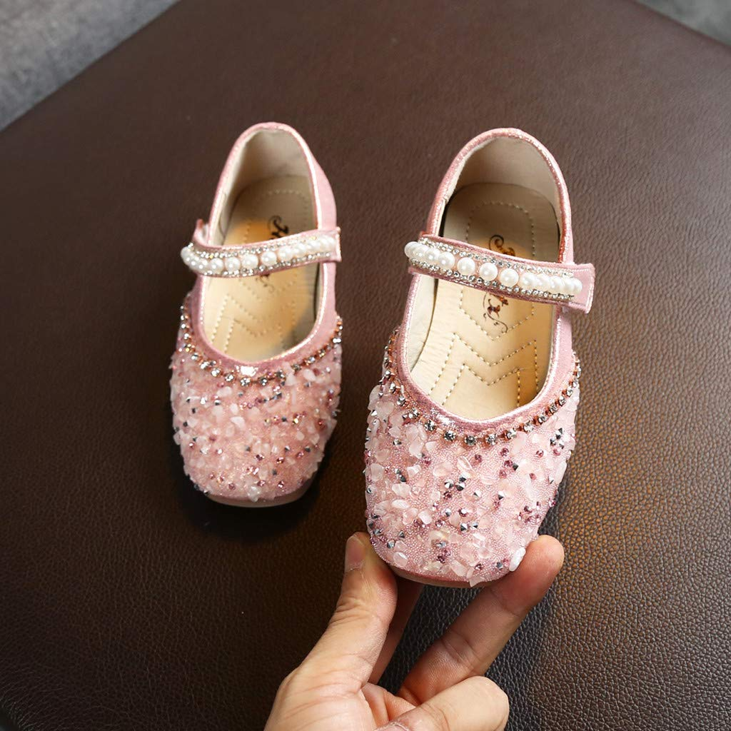 Toddler Girls Child Autumn Mary Jane Dress Shoes Flats 1-11 Years Old Teen Crystal Pearl Sequins Princess Shoes