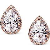 SWEETV Teardrop Bridal Earrings for Wedding, Prom - Elegant Cubic Zirconia Stud Earrings for women, brides, bridesmaids