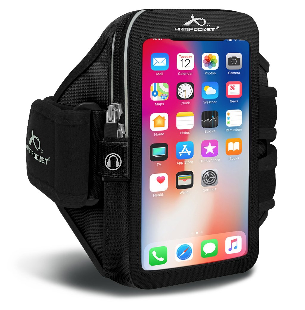 Armpocket Ultra i-35 Sweat/Weather Proof Phone Armband, Black, Small Strap - Fits iPhone 8/7/6s/6, Galaxy S7/S6, S7/S6 Edge, Pixel 3/2, or Phones up to 6.0''