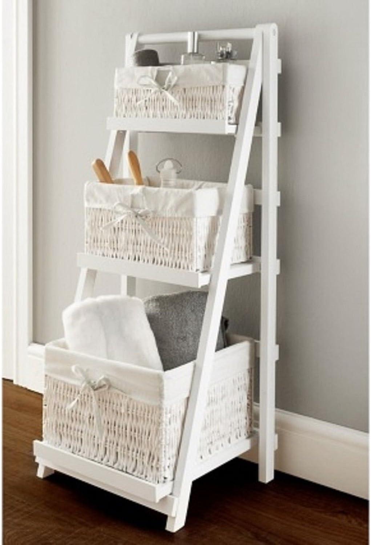 Scotvision® Elegante Juliet 3 cajones escalera estante con cesta de mimbre almacenamiento decorativo: Amazon.es: Bricolaje y herramientas