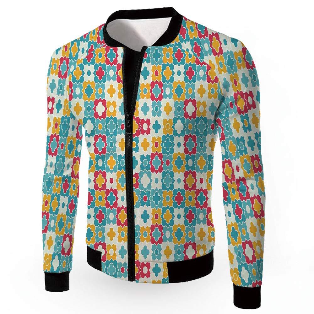 Multi04 XXLarge iPrint Men's Jackets,Quatrefoil,Men's Lightweight Zipup Windproof Windbreaker Jacket,P