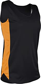product image for TR-980W-CB Women's Athletic Lightweight Single Ply Track Singlet with Side Panels (Medium, Black/Gold)