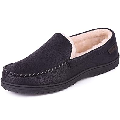 daab5953a297 Men s Comfort Faux Leather Memory Foam Moccasin Slippers Anti-Skid House  Shoes with Crack Texture