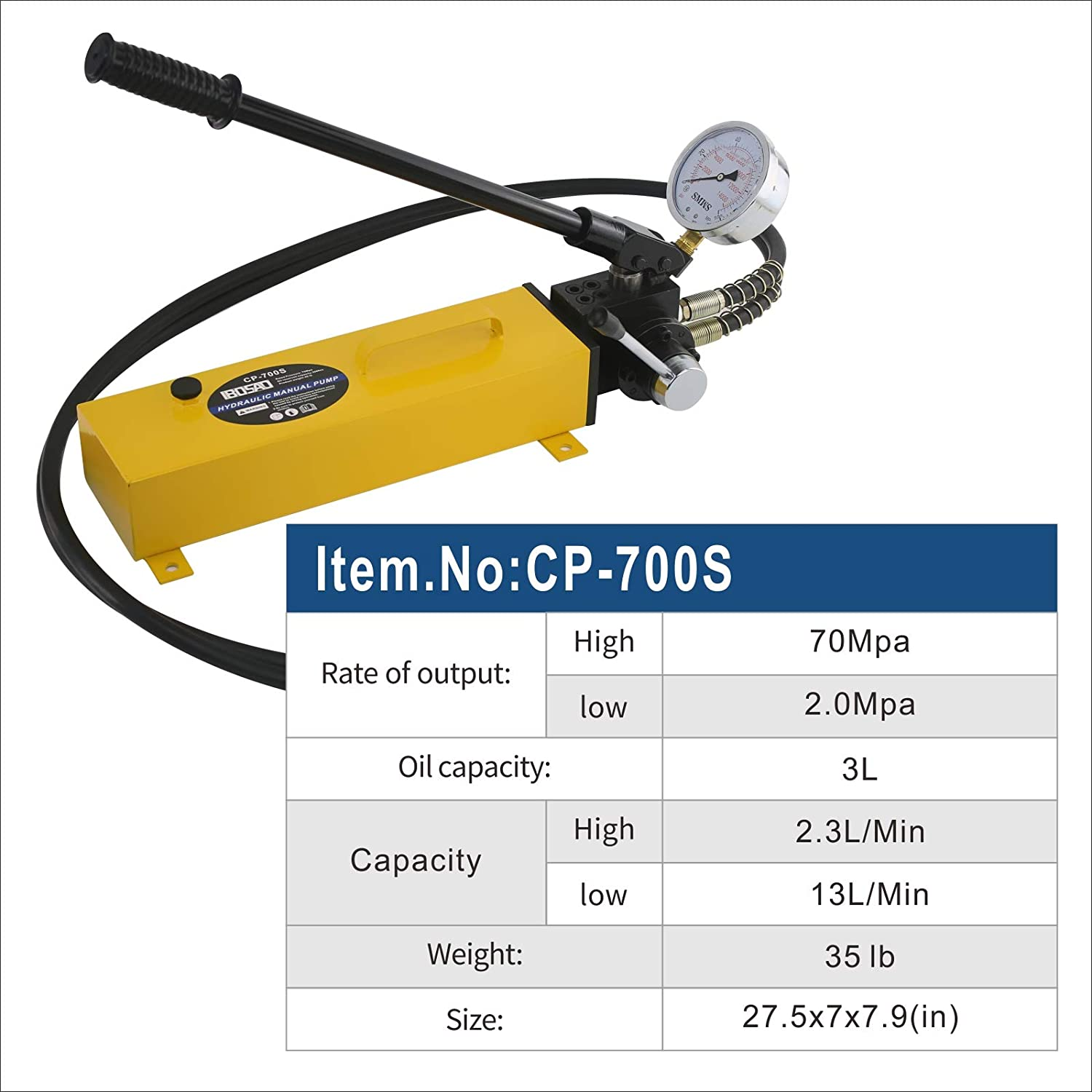 IBOSAD Double Acting Manual Hand Hydraulic Pump Hydraulic Oil Power Pack Pump 2 Stage,10k psi 183 Cubic in Capacity