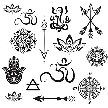 Temporary Tattoo Yoga Set Small Arrows Mandalas Lotus Hamsa Compass Ganesh Realistic Body Art Made In The Usa Fda Approved
