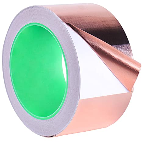 Copper Tape, PEYOU 2inch X 66ft Copper Foil Tape with Conductive Adhesive -  Slug Repellent, EMI Shielding, Stained Glass, Paper Circuits, Electrical