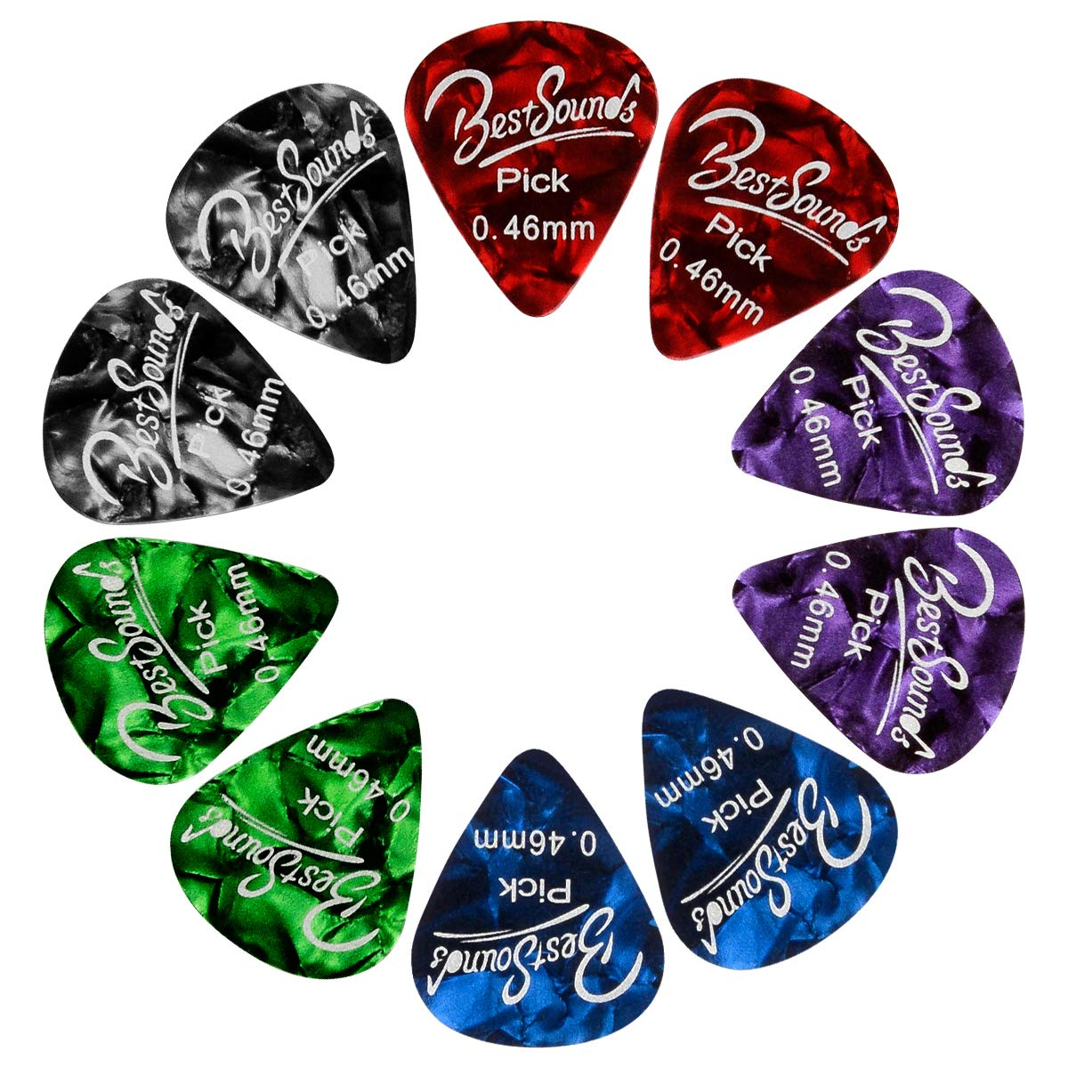 BestSounds Assorted Celluloid Guitar Picks - Unique Guitar Gift For Bass, Electric & Acoustic Guitars (Light/Thin (0.46mm), 48 Pack)