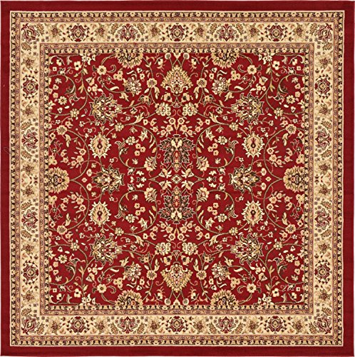 Unique Loom Kashan Collection Traditional Floral Overall Pattern with Border Burgundy Square Rug (8' 0 x 8' 0) (Rug 10x10 Square)