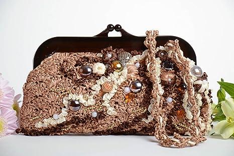 Bolso tejido original hecho a mano con canutillos y ...