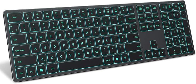 Teclado retroiluminado Bluetooth Jelly Peine, teclado recargable inalámbrico con retroiluminación Qwerty Reino Unido para ordenador/portátil con ...