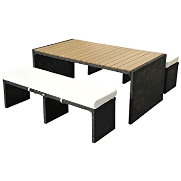 Homcom TABLE DE JARDIN 180CM AVEC 2 BANCS PLATEAU BOIS SALON ...