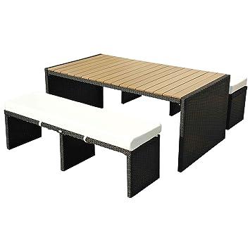 Homcom TABLE DE JARDIN 180CM AVEC 2 BANCS PLATEAU BOIS SALON JARDIN ...