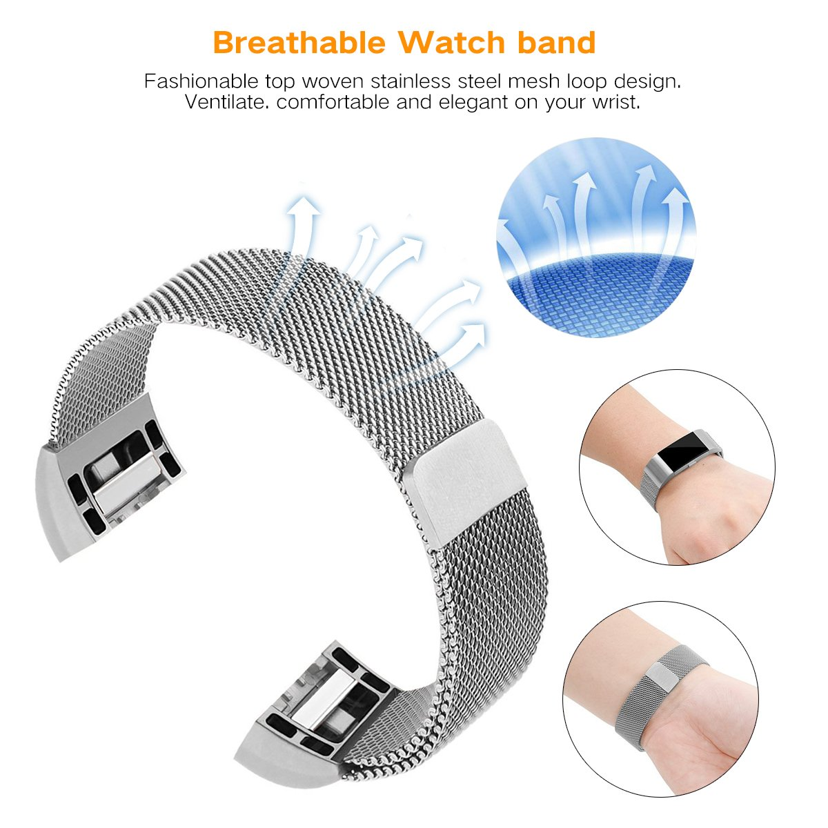 with Adjustable Milanese Stainless Steel and Magnet Lock Replacement Metal Bands for Fitbit Charge 2 runme Fitbit Charge 2 Band