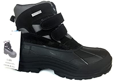 Men's Black and Brown Fashion Winter Snow Boots Shoes Velcro Waterproof Insulated 105