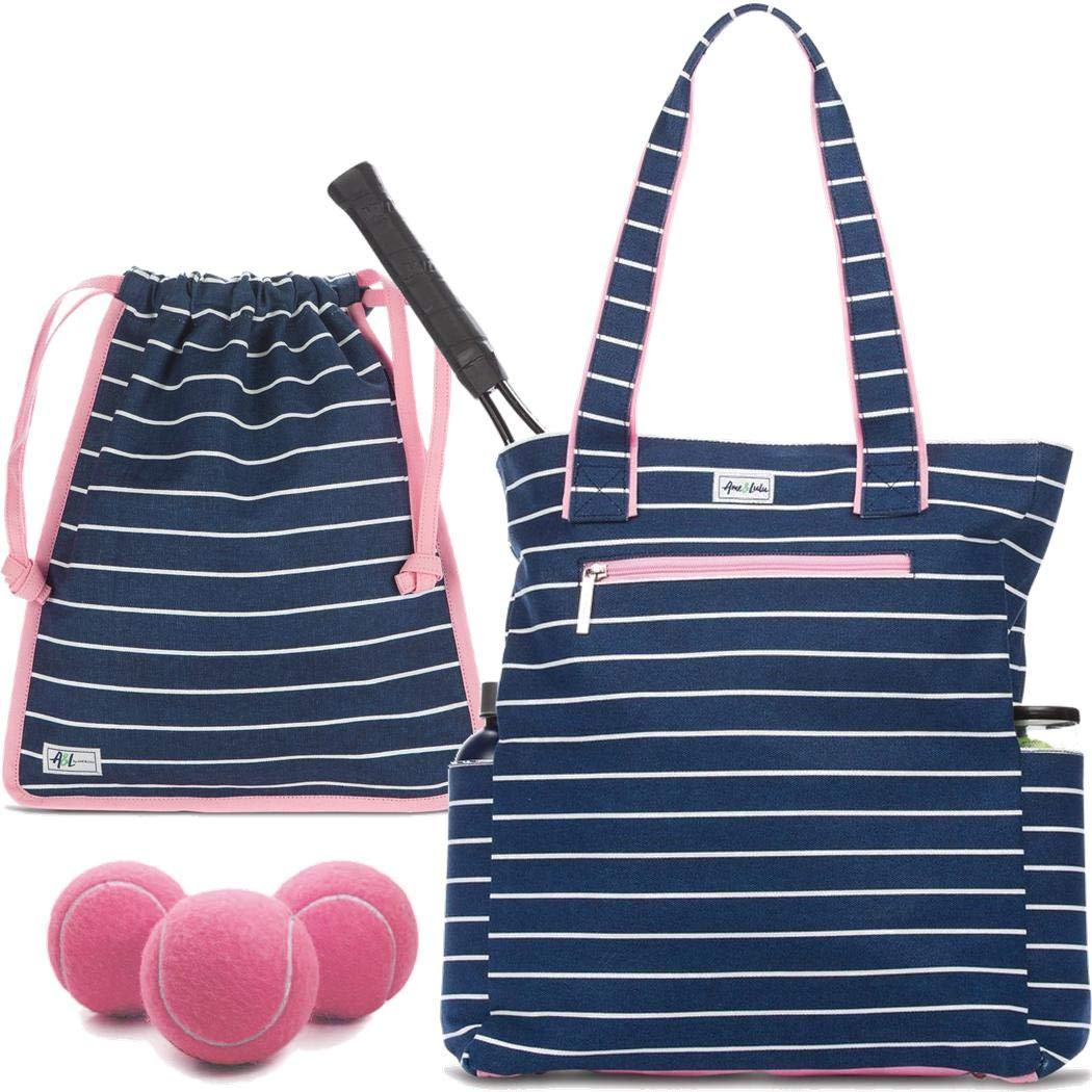 Ame & Lulu Emerson Large Tennis Tote Bundled with a Matching Drawstring Shoe Bag and a Can of Pink Tennis Balls (Frankie)