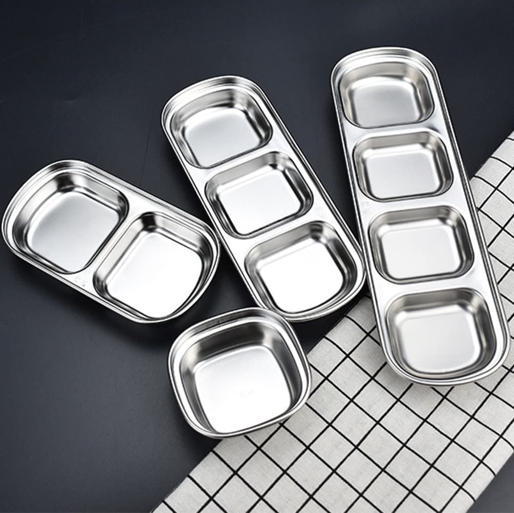 for Sauce Vinegar Ketchup BBQ Stainless Steel Sauce Dishes 3-Grid Dipping Bowls Seasoning Dishes Deepen Condiment Server Dishes