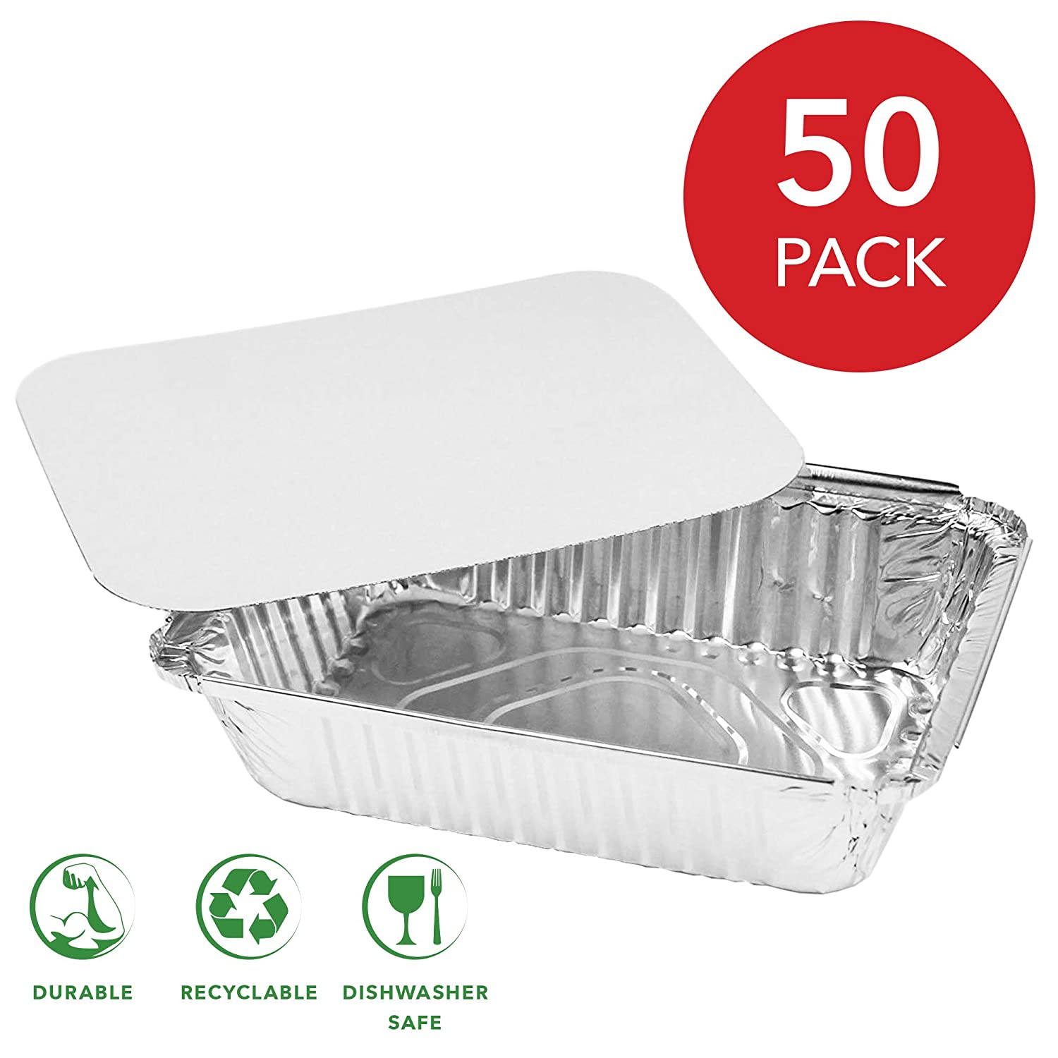 "50 Pack Aluminum Foil Oblong Pans with Cardboard Lid Covers | Standard Size Disposable Aluminum Foil 2Lb Tin Pan Food Storage Containers for Cooking, Baking, Meal Prep, Takeout - 8.5"" x 6"""