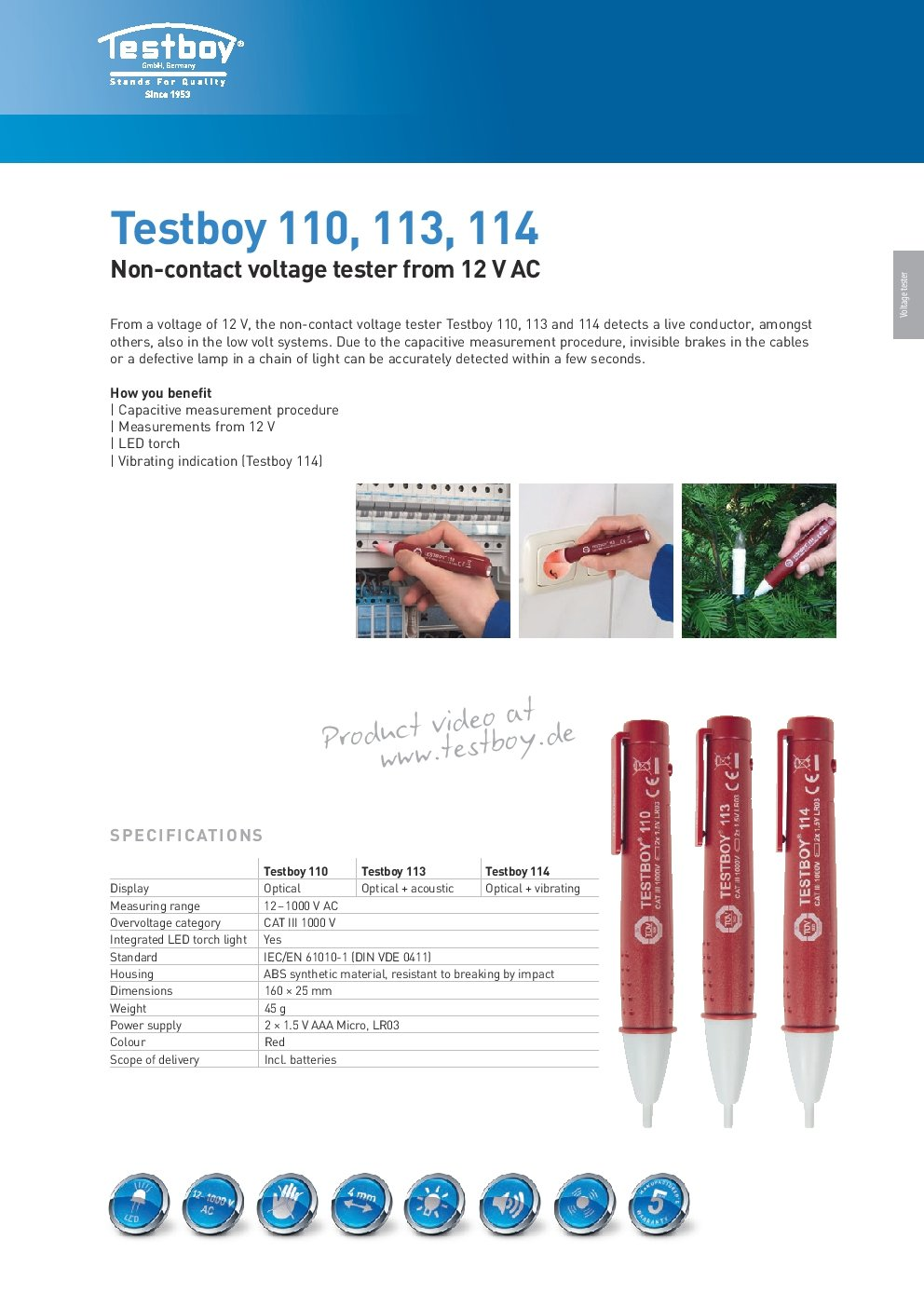 Testboy TB 114 Detector de Tensión sin Contacto: Amazon.es: Industria, empresas y ciencia