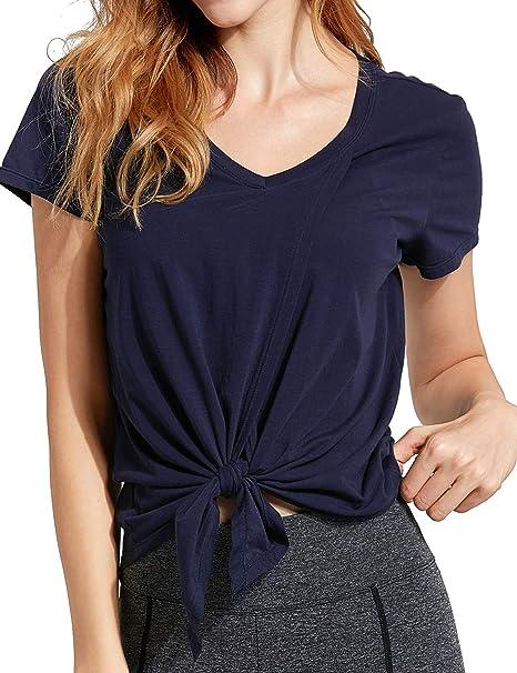 CRZ YOGA Mujer Algodón Pima Camiseta Manga Corta T-Shirt ...