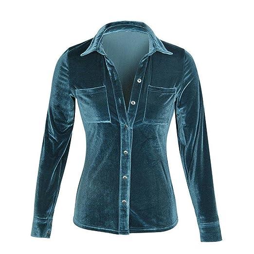 Damen Langarm , Frashing Damen New Mode Langarmshirts V-Ausschnitt  Einfarbig Bluse Locker Basic Casual T-Shirt Oberteil Solides Samt Langarm T- Shirt: ...