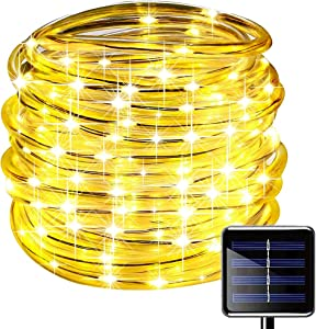 Oluote Solar Rope Lights, 100 LEDs 33ft/10M 2Modes Waterproof Solar String Copper Wire Light, Outdoor Rope Lights for Garden Yard Path Fence Tree Wedding Party Decorative (Warm White, 33)