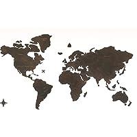 Planisfero da parete in legno di alta qualità 3D, con nomi dei paesi e confini dei paesi incisi
