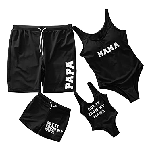 a46ef6c059eae Yaffi Mommy and Me Swimwear Family Matching One Piece Beach Wear Letters  Printed Monokini Bathing Suit
