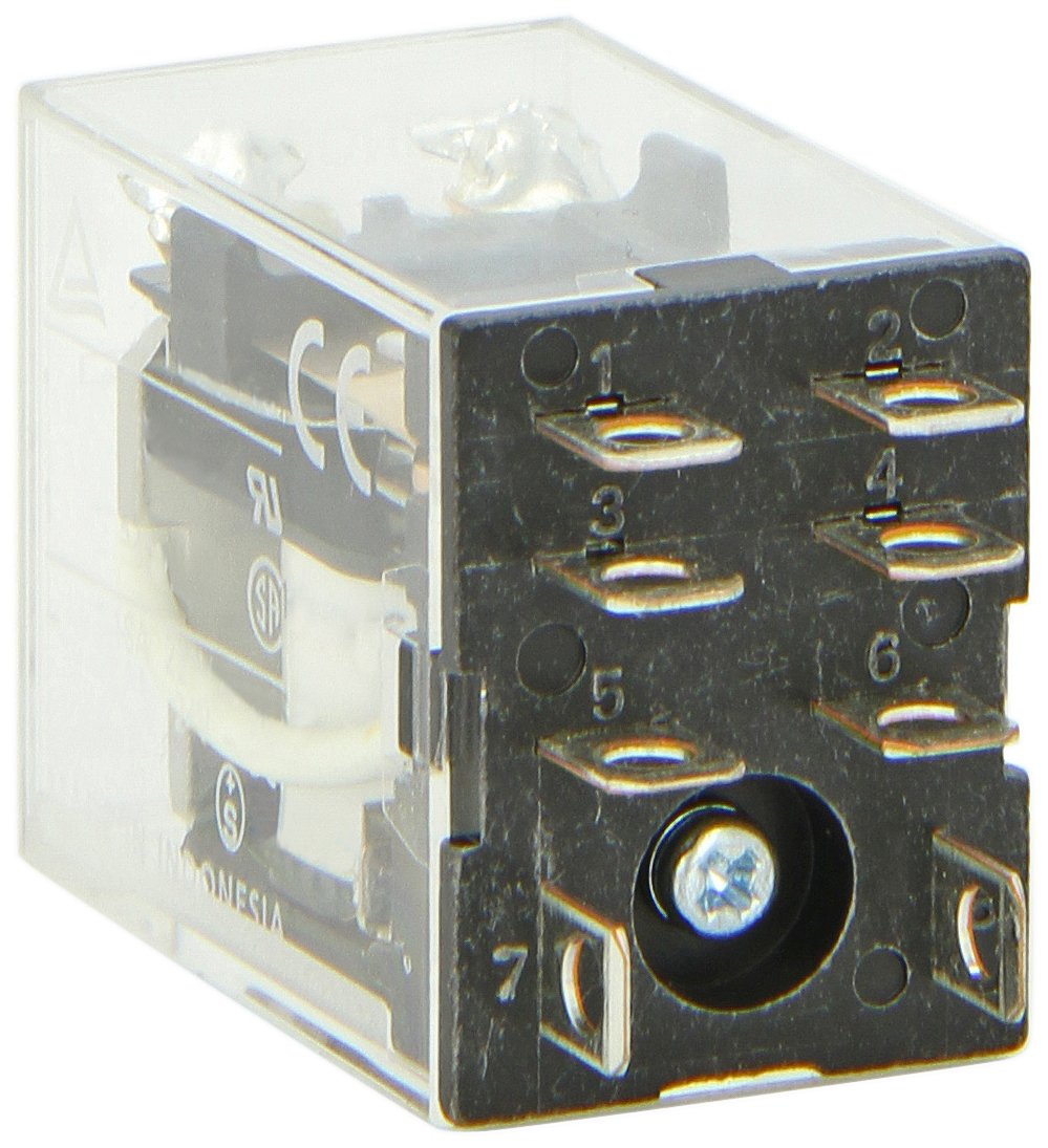 Omron LY2-DC12 General Purpose Relay, Standard Type, Plug-In/Solder Terminal, Standard Bracket Mounting, Single Contact, Double Pole Double Throw Contacts, 75 mA Rated Load Current, 12 VDC Rated Load Voltage