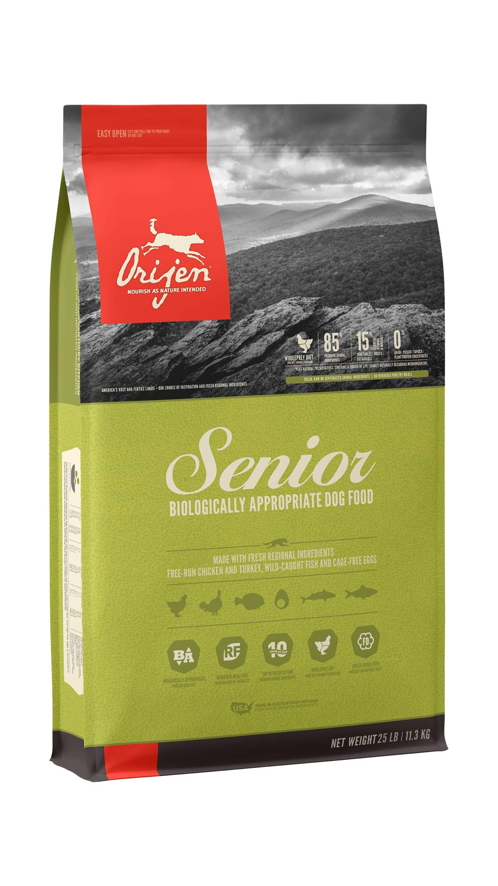 ORIJEN Dry Dog Food, Senior, Biologically Appropriate & Grain Free by Orijen