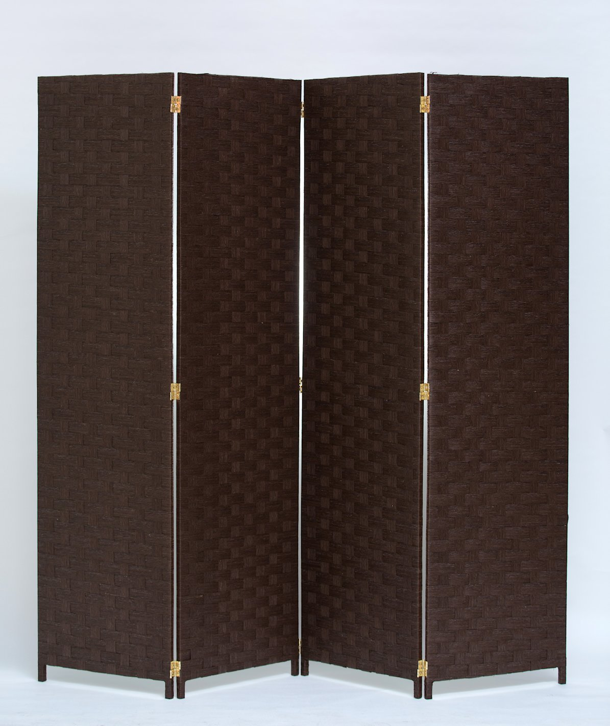 Room Divider 4 Panel Weave Design Paper Fiber Brown Color By Legacy Decor by Legacy Decor
