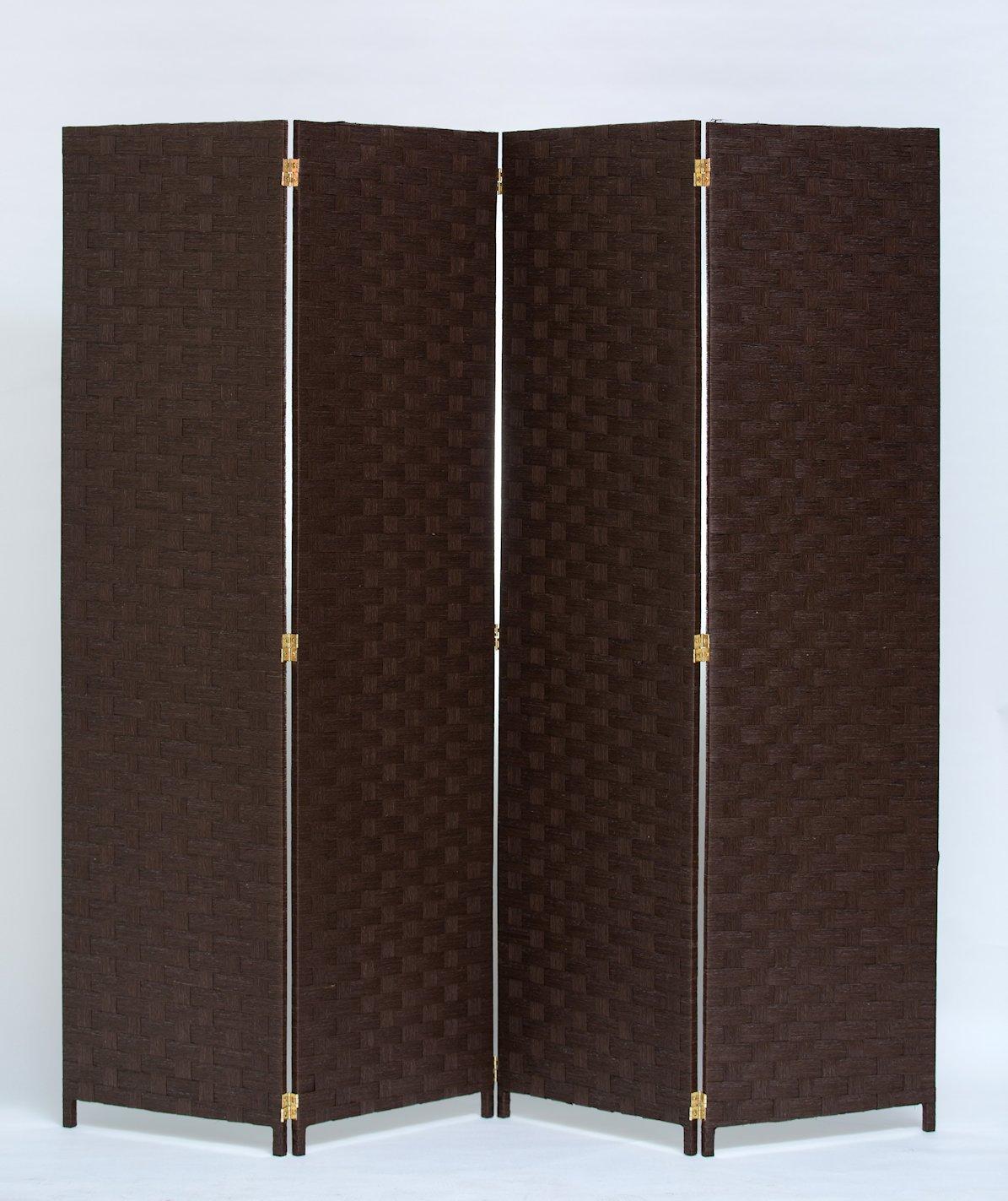 Room Divider 4 Panel Weave Design Paper Fiber Brown Color By Legacy Decor