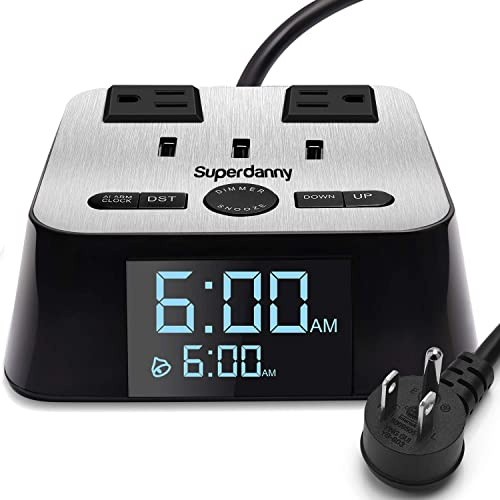 SUPERDANNY Alarm Clock Charger Power Strip Surge Protector UL Approval USB 3.2A Charging Station 2 Outlets 6.5ft Extension Cord for iPhone iPad Samsung Computer Laptop Home Dorm Hotel Bedside